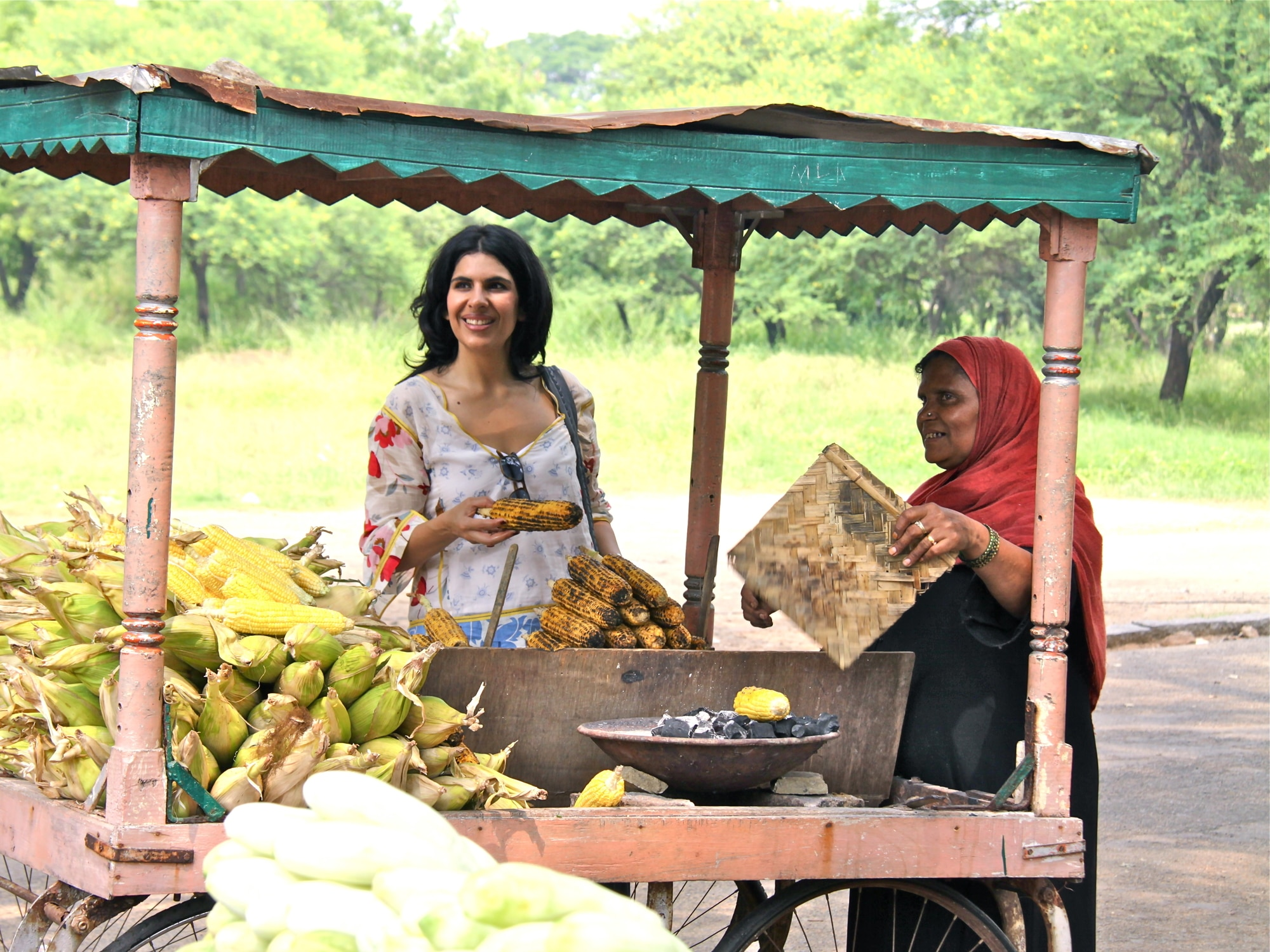 Anjum Anand at roadside stall