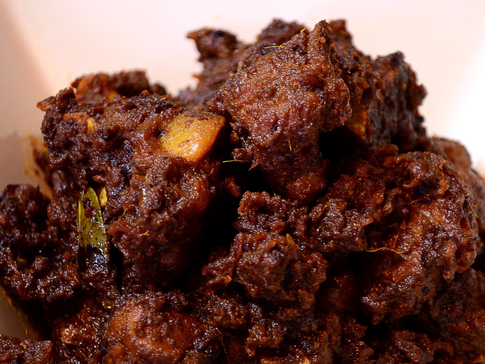 a serving plate of beef bhuna