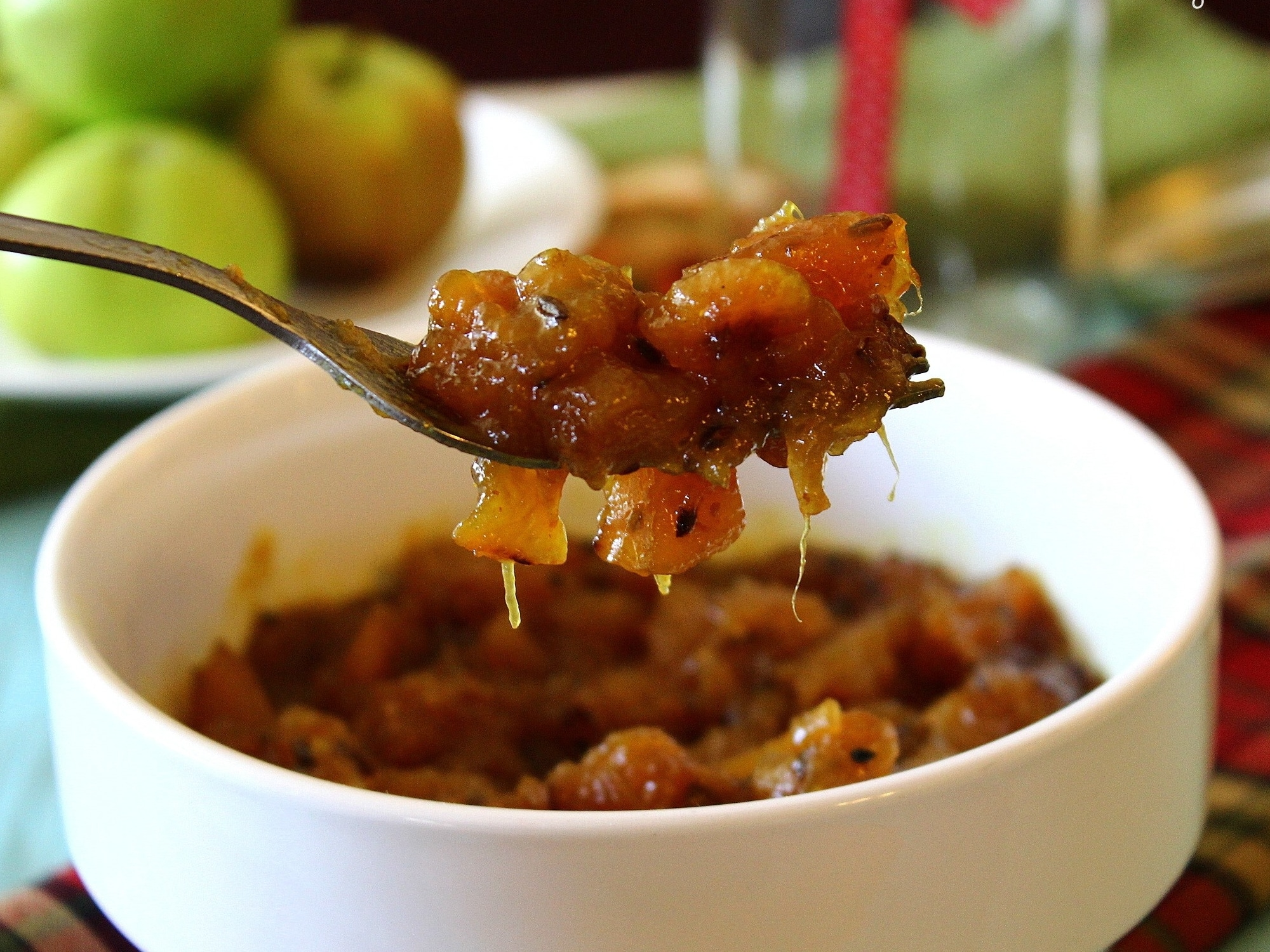serving dish of mango chutney
