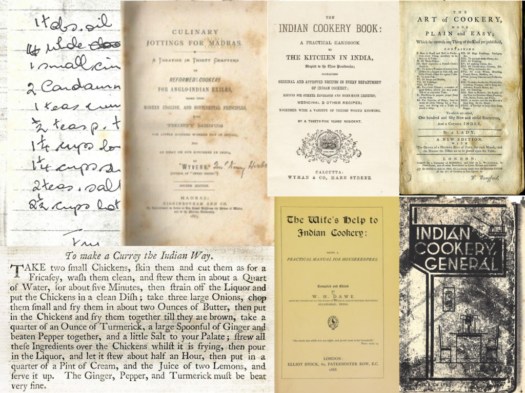 a montage of old Indian cookbooks
