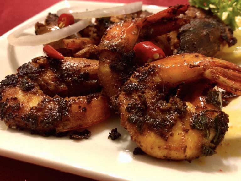 serving platter of kerala prawn fry