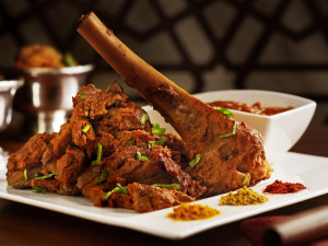 leg of lamb, lucknow style, shank in, on serving platter