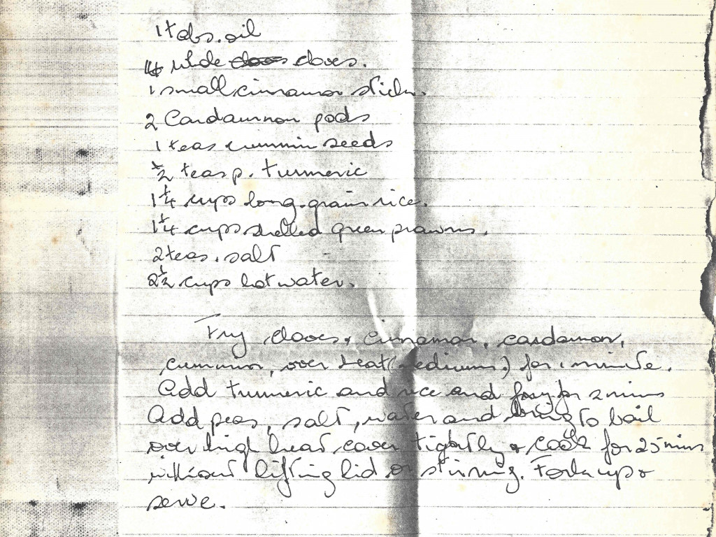 original page from recipe notes