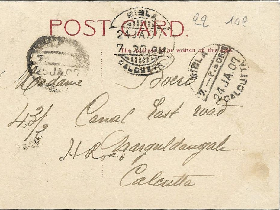 the back of a 1907 Calcutta postcard