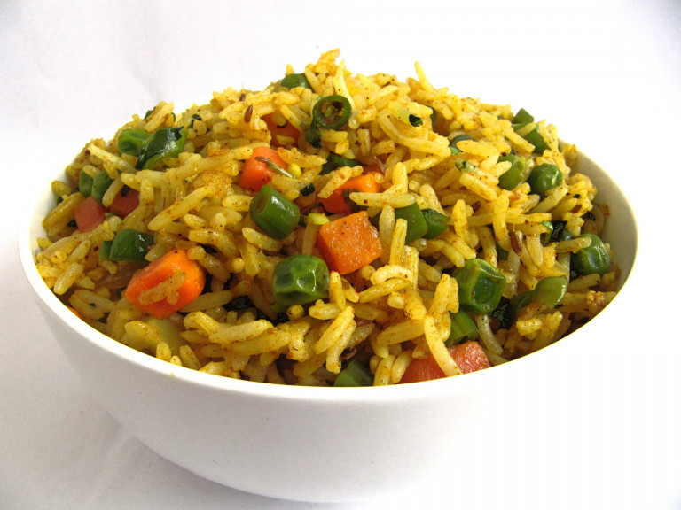 a bowl of vegetable pulao