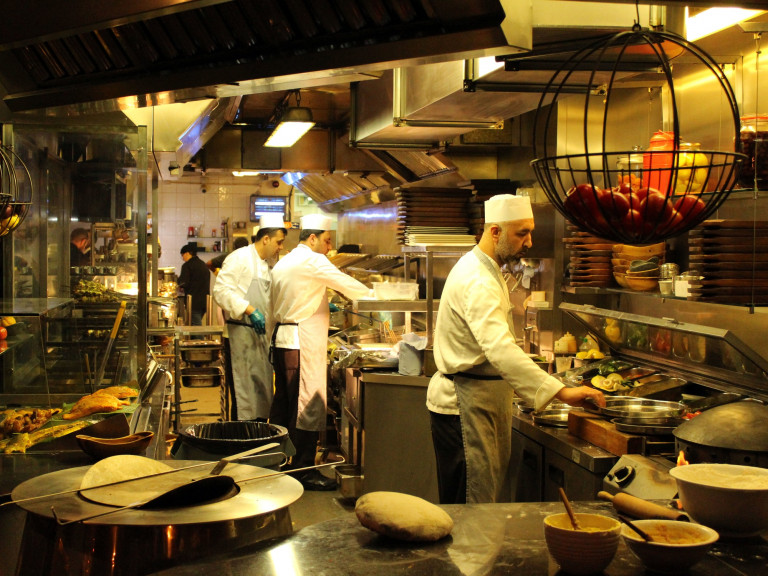 kitchen in a curry house restaurant