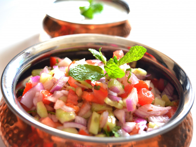 a serving bowl of kachumber
