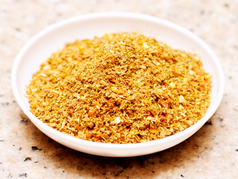 a small dish with sambar masala