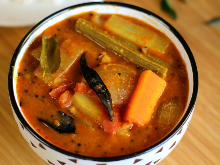 a bowl of vegetable sambar