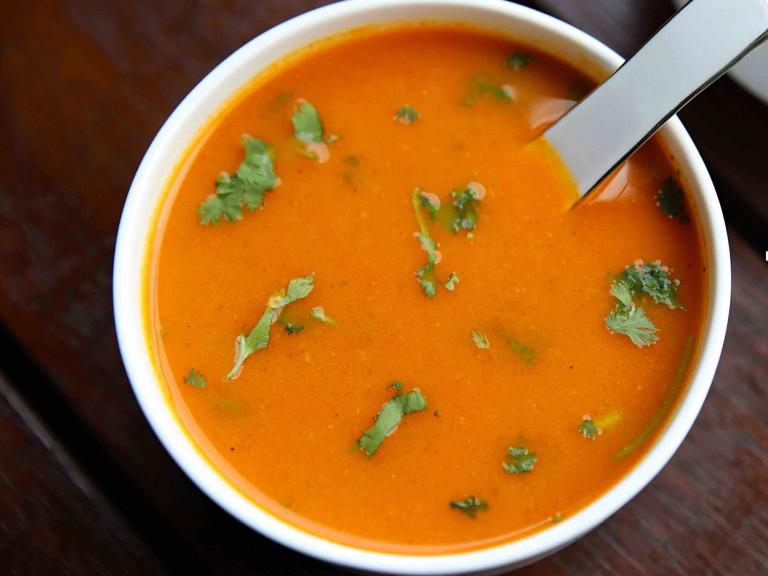 a bowl of tomato shorba
